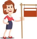 Flat Female Cartoon Vector Character AKA Masha Manners - Sign 9