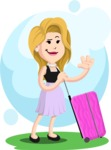 Flat Casual Blonde Female Cartoon Vector Character AKA Fiona Girly - Shape 5
