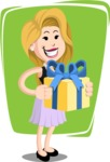 Flat Casual Blonde Female Cartoon Vector Character AKA Fiona Girly - Shape 8