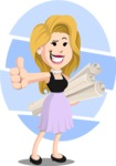 Flat Casual Blonde Female Cartoon Vector Character AKA Fiona Girly - Shape 9
