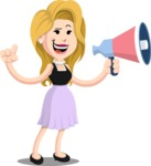 Flat Casual Blonde Female Cartoon Vector Character AKA Fiona Girly - Loudspeaker