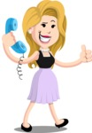 Flat Casual Blonde Female Cartoon Vector Character AKA Fiona Girly - Support