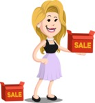 Flat Casual Blonde Female Cartoon Vector Character AKA Fiona Girly - Sale