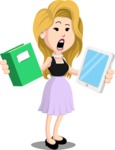 Flat Casual Blonde Female Cartoon Vector Character AKA Fiona Girly - Book and iPad