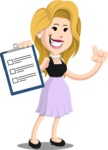 Flat Casual Blonde Female Cartoon Vector Character AKA Fiona Girly - Notepad 1