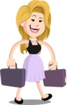 Flat Casual Blonde Female Cartoon Vector Character AKA Fiona Girly - Briefcase 3