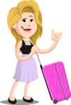 Flat Casual Blonde Female Cartoon Vector Character AKA Fiona Girly - Travel 1