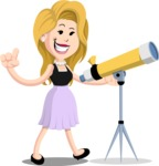 Flat Casual Blonde Female Cartoon Vector Character AKA Fiona Girly - Telescope