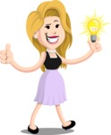 Flat Casual Blonde Female Cartoon Vector Character AKA Fiona Girly - Idea 1