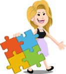 Flat Casual Blonde Female Cartoon Vector Character AKA Fiona Girly - Puzzle
