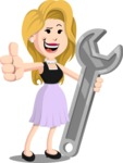 Flat Casual Blonde Female Cartoon Vector Character AKA Fiona Girly - Repair