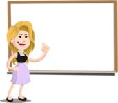 Flat Casual Blonde Female Cartoon Vector Character AKA Fiona Girly - Presentation 3