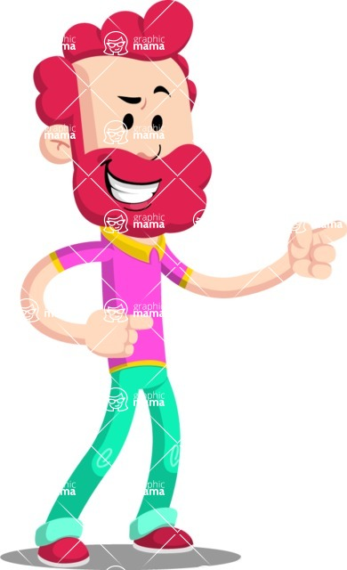 Flat Casual Male Cartoon Vector Character AKA Jasper Fresh - Point 2