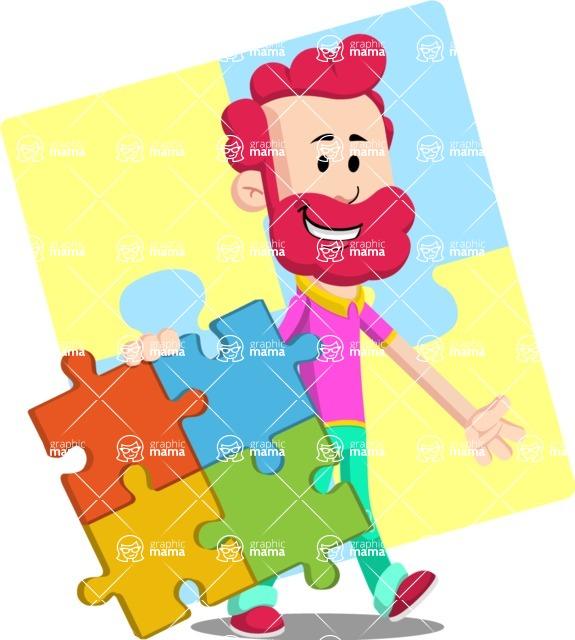 Flat Casual Male Cartoon Vector Character AKA Jasper Fresh - Shape 12
