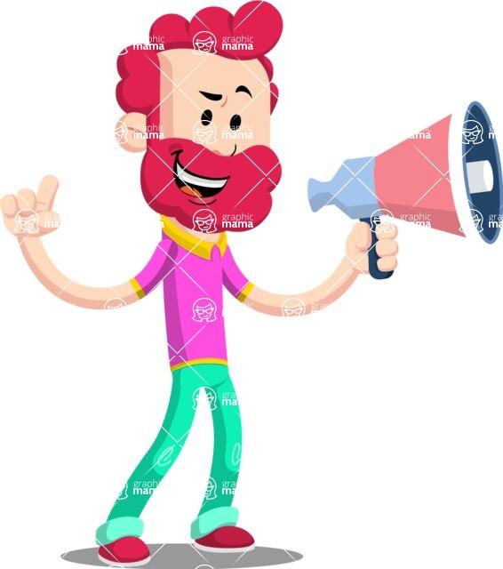 Flat Casual Male Cartoon Vector Character AKA Jasper Fresh - Loudspeaker