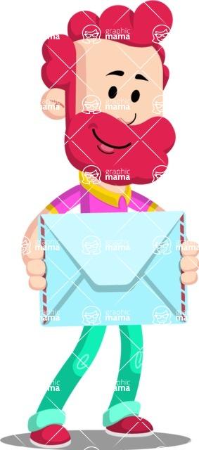 Flat Casual Male Cartoon Vector Character AKA Jasper Fresh - Letter