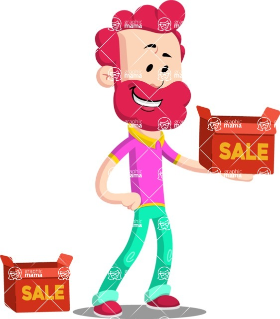 Flat Casual Male Cartoon Vector Character AKA Jasper Fresh - Sale