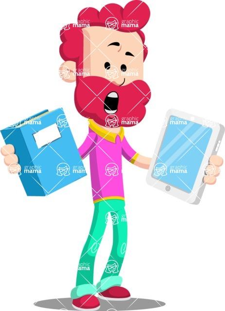 Flat Casual Male Cartoon Vector Character AKA Jasper Fresh - Book and iPad