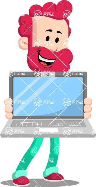 Flat Casual Male Cartoon Vector Character AKA Jasper Fresh - Laptop 2