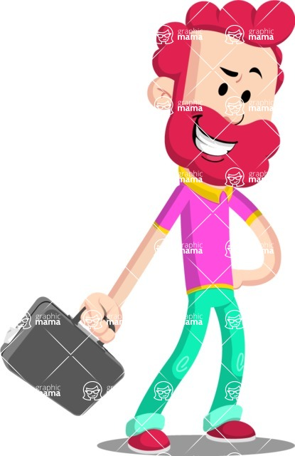 Flat Casual Male Cartoon Vector Character AKA Jasper Fresh - Briefcase 1