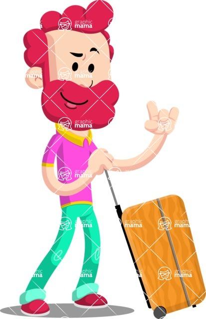 Flat Casual Male Cartoon Vector Character AKA Jasper Fresh - Travel 1