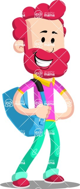 Flat Casual Male Cartoon Vector Character AKA Jasper Fresh - Travel 2