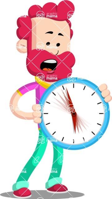Flat Casual Male Cartoon Vector Character AKA Jasper Fresh - Time is Yours