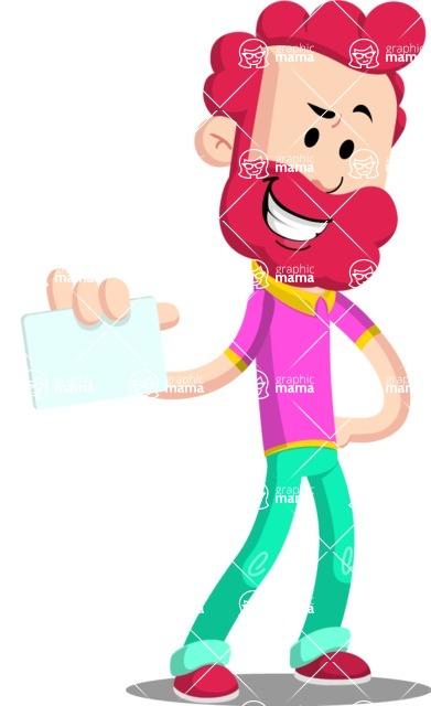 Flat Casual Male Cartoon Vector Character AKA Jasper Fresh - Sign 1