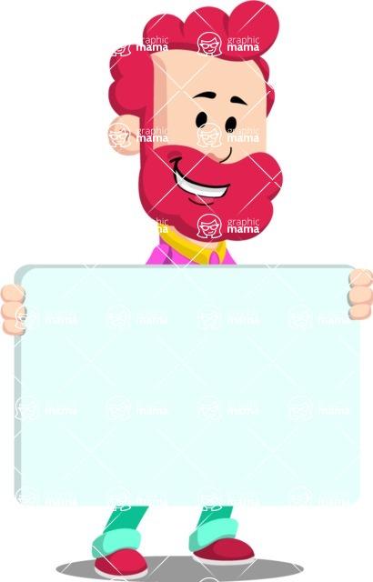 Flat Casual Male Cartoon Vector Character AKA Jasper Fresh - Sign 5