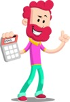 Flat Casual Male Cartoon Vector Character AKA Jasper Fresh - Calculator