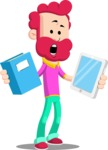 Flat Casual Male Cartoon Vector Character AKA Jasper Fresh - Book and iPad