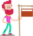 Flat Casual Male Cartoon Vector Character AKA Jasper Fresh - Sign 9