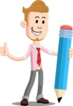 Office Guy Cartoon Vector Character AKA Owen - Pencil