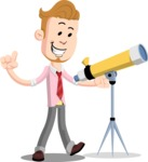 Office Guy Cartoon Vector Character AKA Owen - Telescope