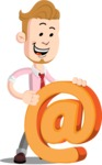 Office Guy Cartoon Vector Character AKA Owen - Email