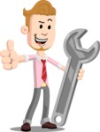 Office Guy Cartoon Vector Character AKA Owen - Repair