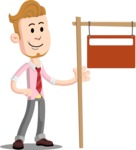 Office Guy Cartoon Vector Character AKA Owen - Sign 9
