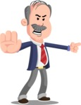 Flat Elderly Businessman Cartoon Vector Character AKA Fred Senior - Direct Attention