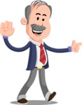 Flat Elderly Businessman Cartoon Vector Character AKA Fred Senior - Direct Attention 2