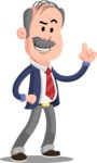 Flat Elderly Businessman Cartoon Vector Character AKA Fred Senior - Attention