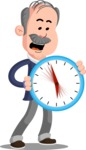 Flat Elderly Businessman Cartoon Vector Character AKA Fred Senior - Time is Yours