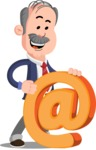 Flat Elderly Businessman Cartoon Vector Character AKA Fred Senior - Email