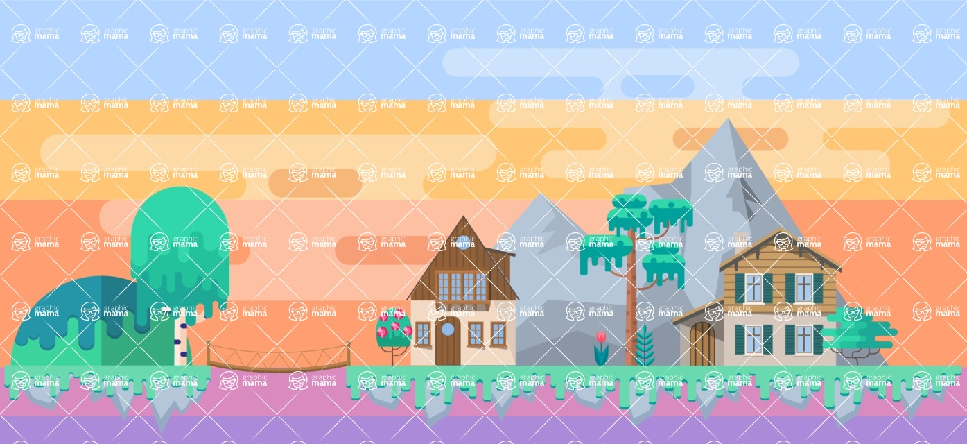 Background Vector Creation pack. A rich collection of flat vector elements for nature landscapes, city skylines, futuristic towns, fantastic scenes.  - Backgrounds 2