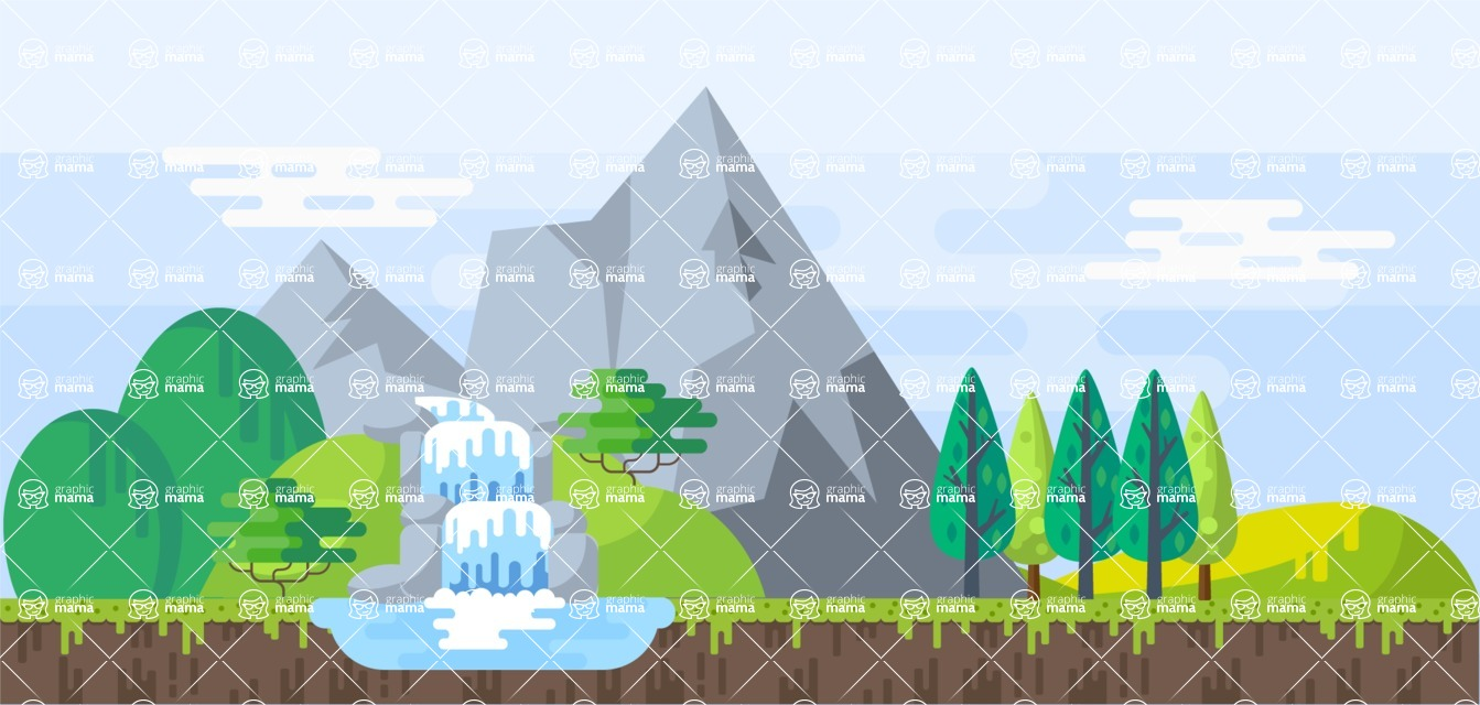 Background Vector Creation pack. A rich collection of flat vector elements for nature landscapes, city skylines, futuristic towns, fantastic scenes.  - Backgrounds 5