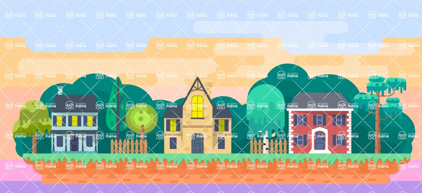 Background Vector Creation pack. A rich collection of flat vector elements for nature landscapes, city skylines, futuristic towns, fantastic scenes.  - Backgrounds 6