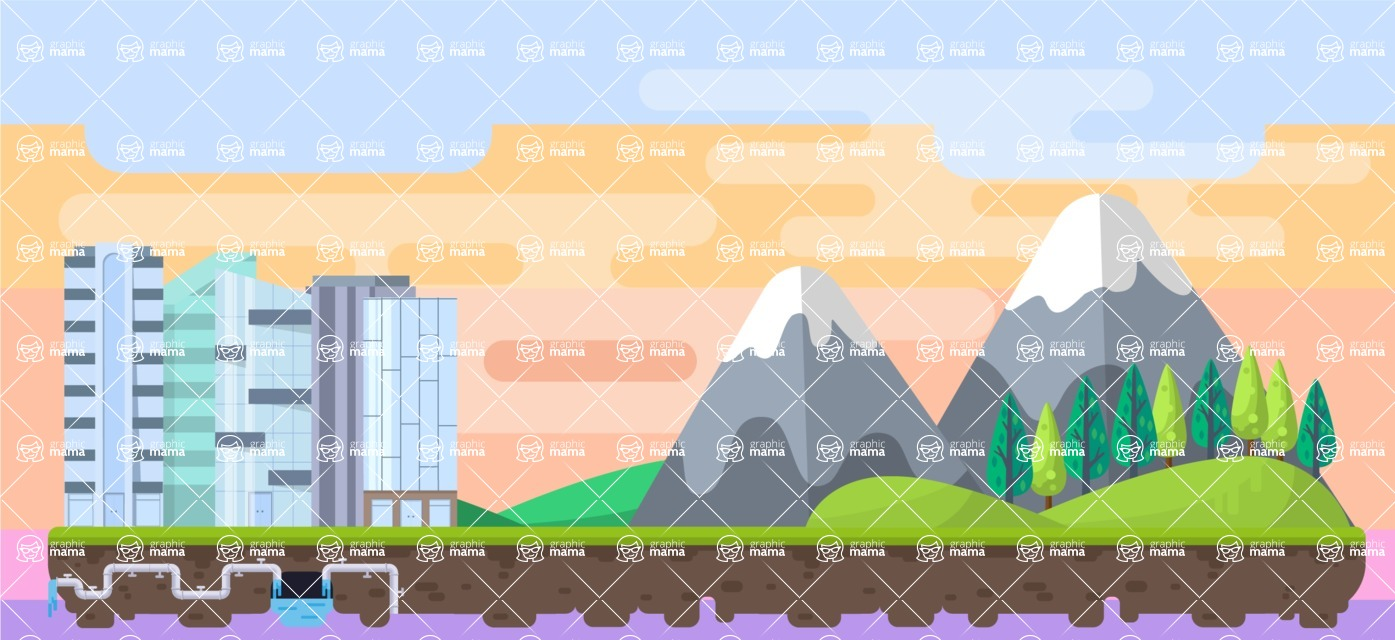 Background Vector Creation pack. A rich collection of flat vector elements for nature landscapes, city skylines, futuristic towns, fantastic scenes.  - Backgrounds 8