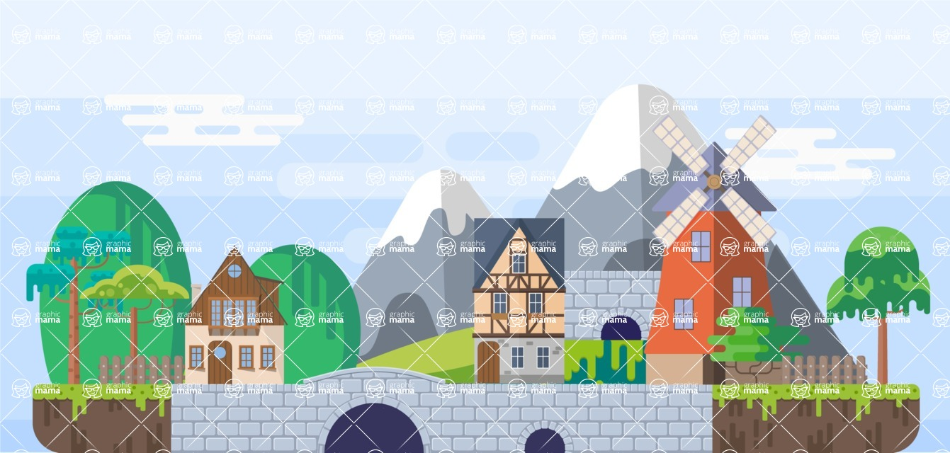 Background Vector Creation pack. A rich collection of flat vector elements for nature landscapes, city skylines, futuristic towns, fantastic scenes.  - Backgrounds 9