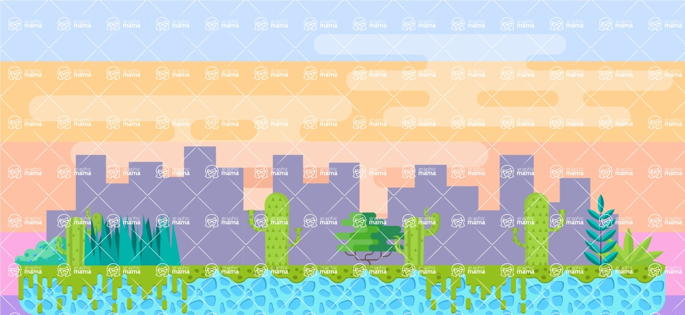 Background Vector Creation pack. A rich collection of flat vector elements for nature landscapes, city skylines, futuristic towns, fantastic scenes.  - Backgrounds 25