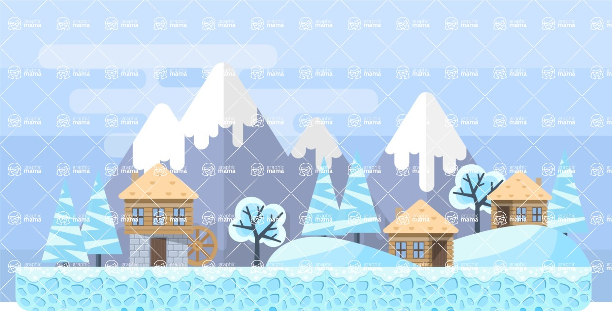 Background Vector Creation pack. A rich collection of flat vector elements for nature landscapes, city skylines, futuristic towns, fantastic scenes.  - Backgrounds 29