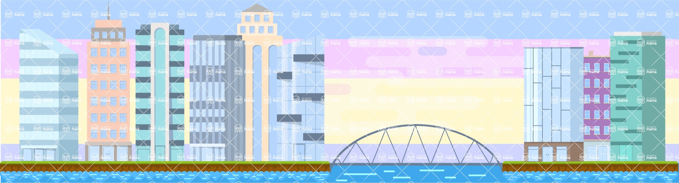 Background Vector Creation pack. A rich collection of flat vector elements for nature landscapes, city skylines, futuristic towns, fantastic scenes.  - Backgrounds 31